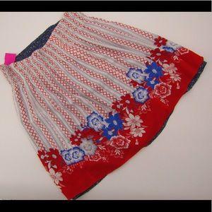 CAbi red floral/ blue print reversible skirt